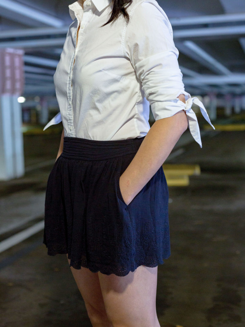 White tie sleeve button down | black eyelet shorts | nude block sandal heel | www.shoppingmycloset.com @bananarepublic #bananarepublic @rebeccataylor #rebeccataylor @target #merona #target
