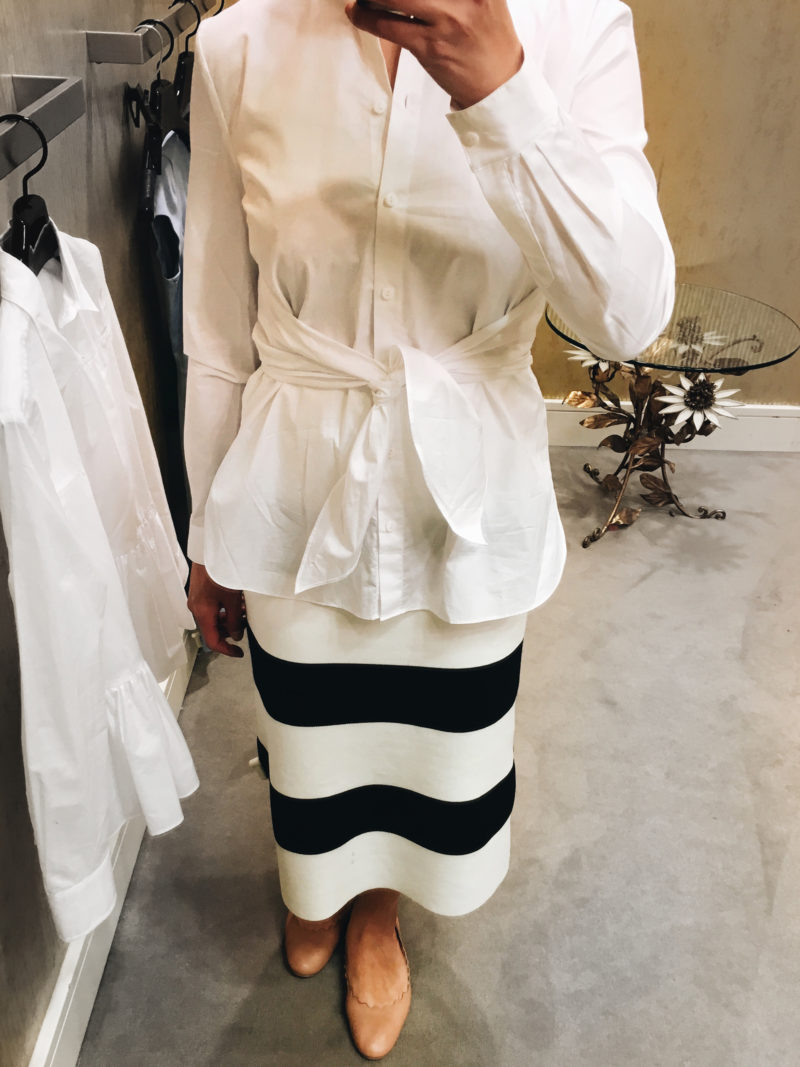 White tie front blouse | striped skirts | scallop ballet  | www.shoppingmycloset.com
