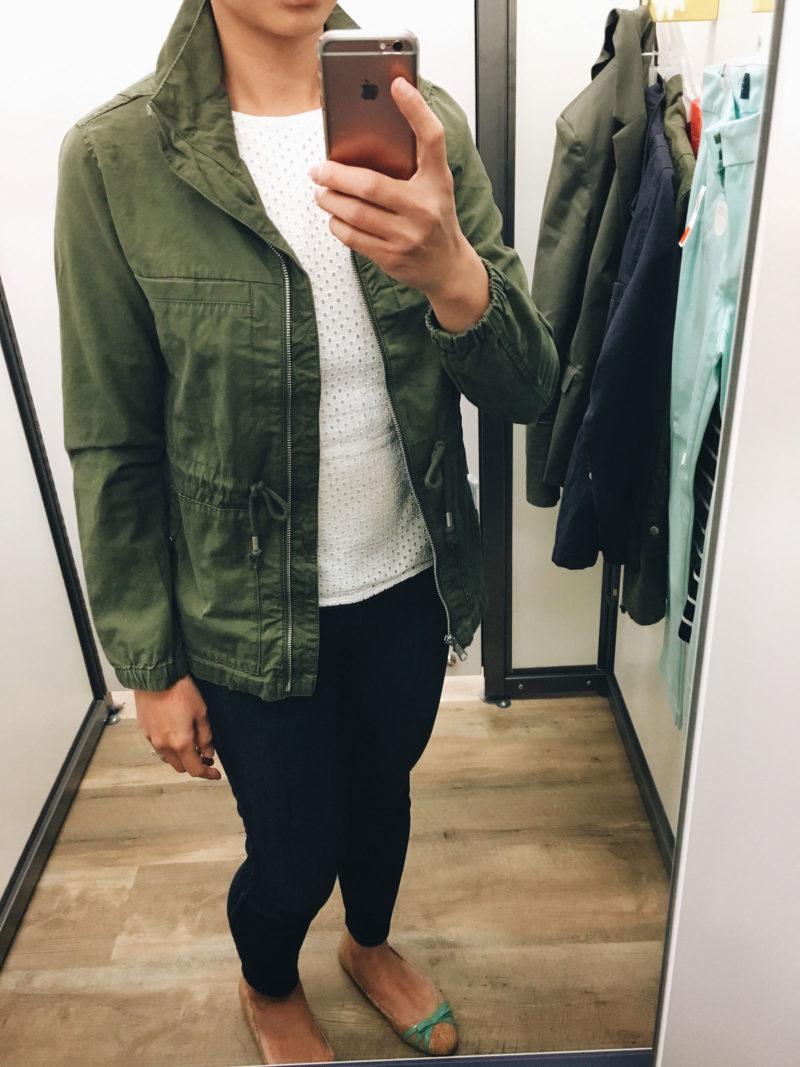 Green utility jacket | white eyelet peplum | cork ballet flats  | www.shoppingmycloset.com