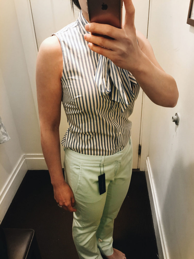 Striped tie front sleeveless top | mint green pants  | www.shoppingmycloset.com