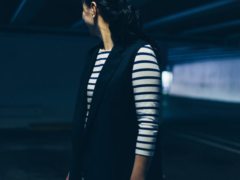 Navy sleeveless coat | striped dress | pink heels | www.shoppingmycloset.com