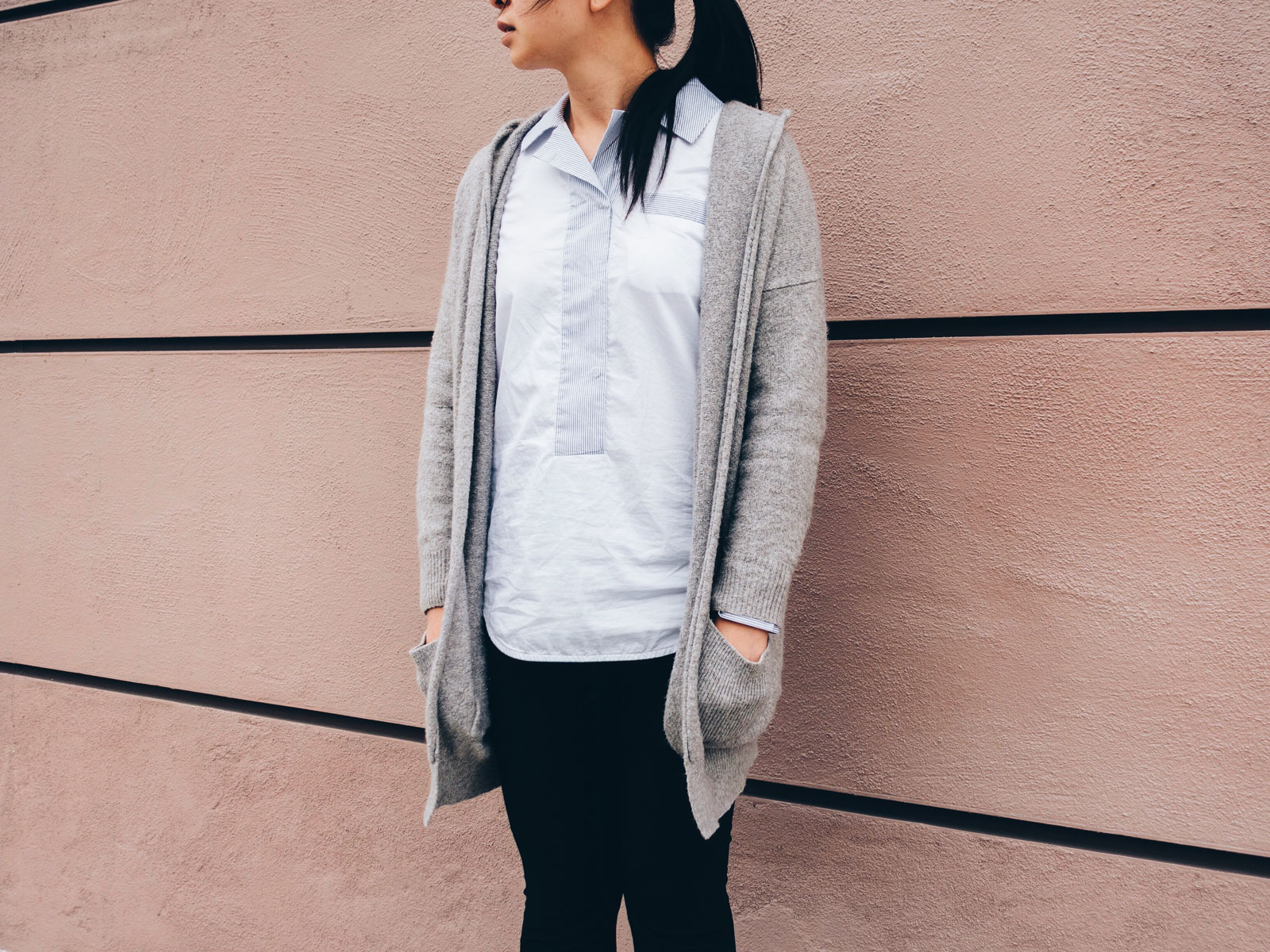 Grey hooded long cardigan (http://shopstyle.it/l/eFy2) | White and blue contrast popover shirt (http://shopstyle.it/l/eFxL) Black legging pants (http://shopstyle.it/l/eFxX) | Grey lace heels (http://shopstyle.it/l/eFx3) See the full look at www.shoppingmycloset.com