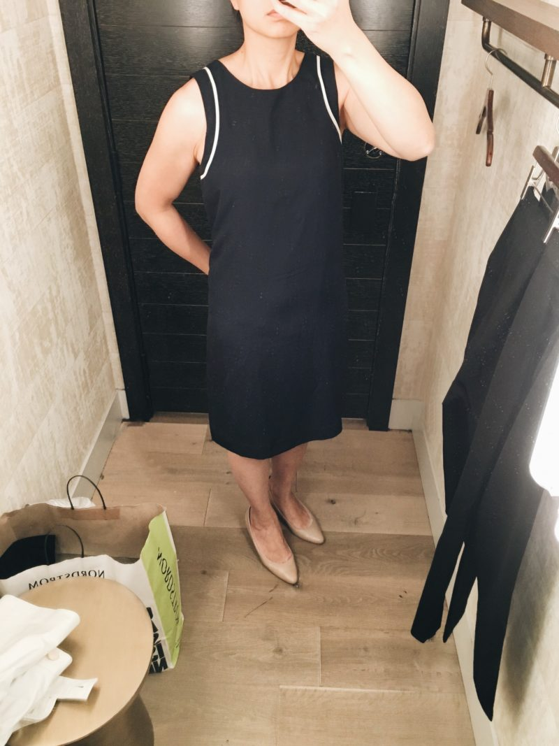 Navy blue shift dress with white contrast piping (http://fave.co/2vnWw19)   see the full look at www.shoppingmycloset.com