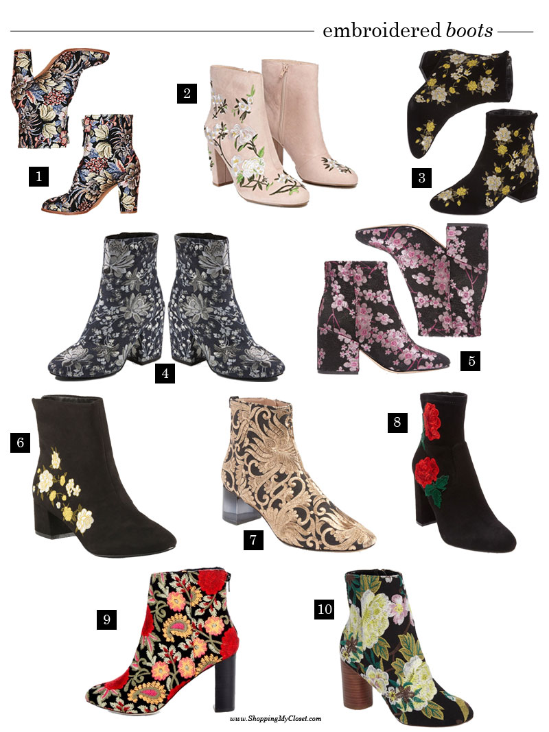 Embroidered boots | see all the picks at www.shoppingmycloset.com