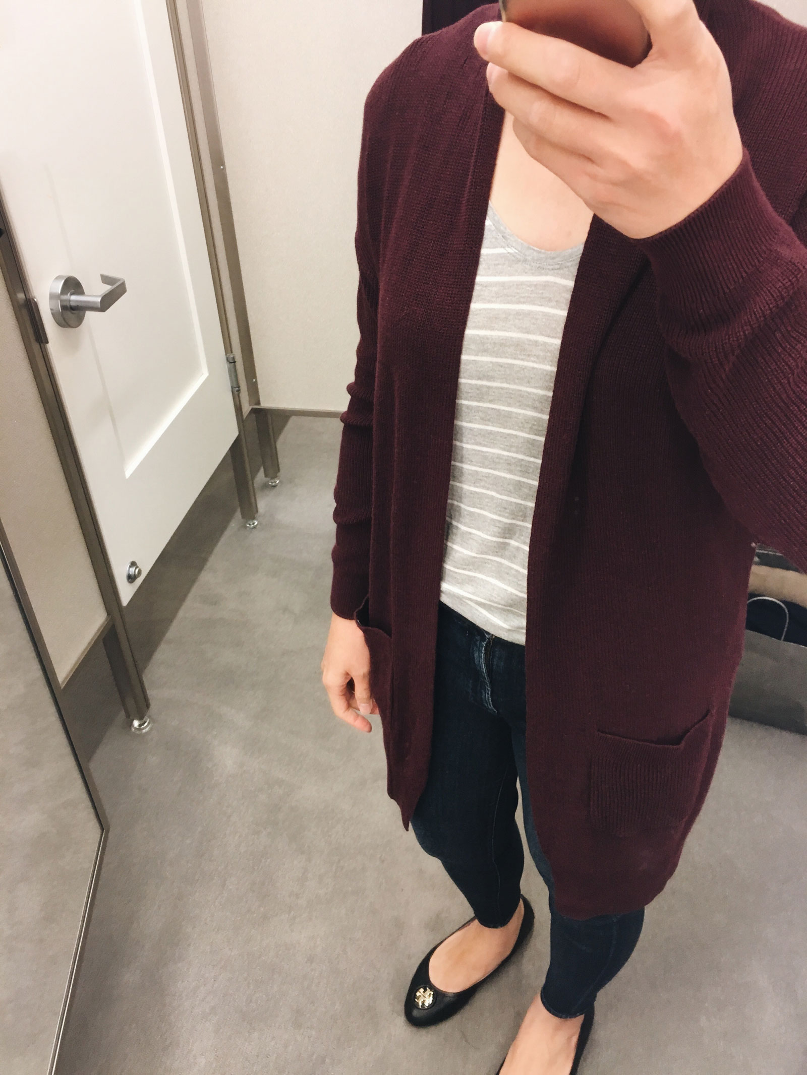 Burgundy open front cardigan (shop here: http://fave.co/2wYwtzL) | grey striped shirt (shop here: http://fave.co/2xDzqTe) | see the full looks at www.shoppingmycloset.com