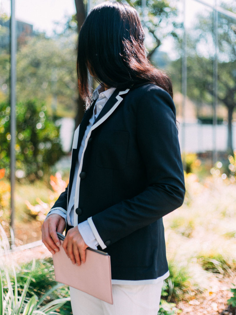 Piped black & white blazer | striped blue button front shirt | white pants | nude bow heels | pink & grey clutch | www.shoppingmycloset.com