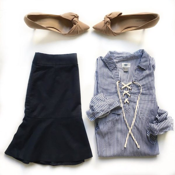 Blue striped lace up shirt | navy ruffle hem skirt | nude bow heels | www.shoppingmycloset.com
