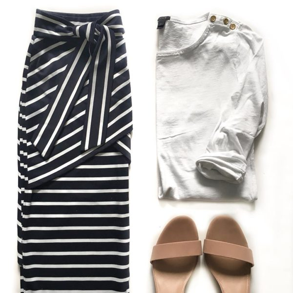 White gold button t-shirt | striped crisscross skirt | nude block heels | www.shoppingmycloset.com