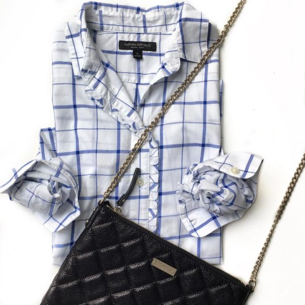 Windowpane shirt | black quilted purse | www.shoppingmycloset.com