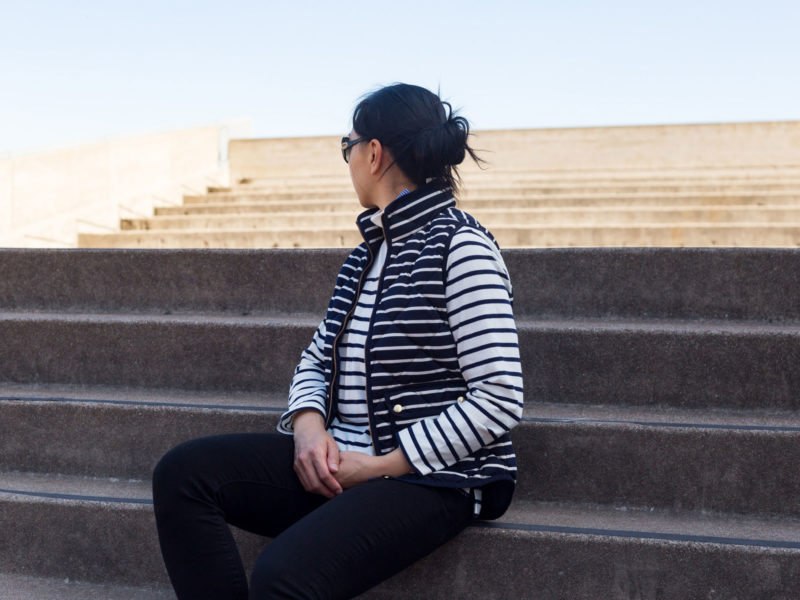 Striped mockneck shirt   striped vest   black skinny jeans   white tennis shoes   see the full look at www.shoppingmycloset.com  #falloutfit #layering #stripes #stripedvest