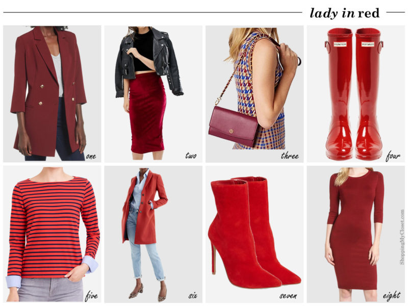 Fashion's Fall 2017 color trend: red   see all the pops of red picks at www.shoppingmycloset.com