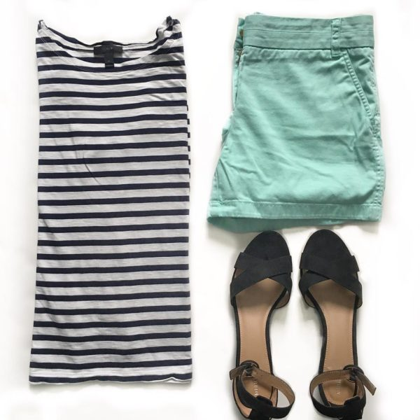 Striped shirt | mint green shorts | black block sandals  | see all the looks at www.shoppingmycloset.com