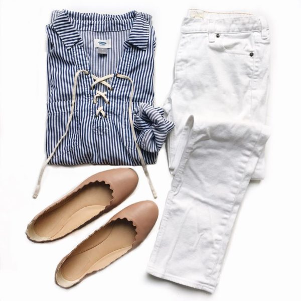 Striped lace up shirt | white jeans | scallop ballet flats  | see all the looks at www.shoppingmycloset.com
