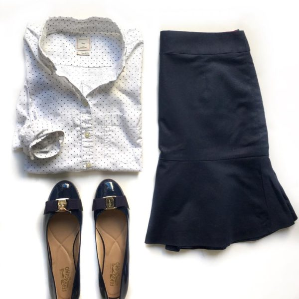White polka dot button front shirt | navy ruffle hem skirt | blue bow flats  | see all the looks at www.shoppingmycloset.com