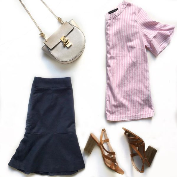 Striped ruffle shirt | navy ruffle hem skirt | chain purse | brown block sandals  | see all the looks at www.shoppingmycloset.com  #summeroutfit #workoutfit