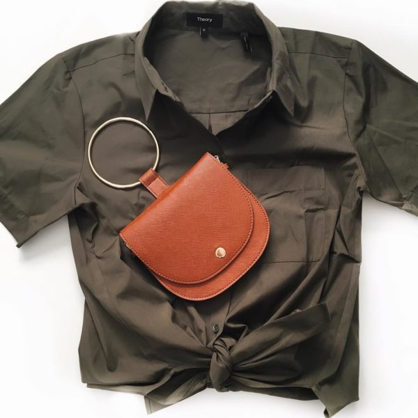 Olive green tie front shirt | brown ring handle purse  | see all the looks at www.shoppingmycloset.com