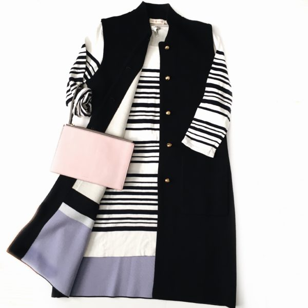 Striped dress | navy sleeveless sweater vest / cardigan | pink clutch | www.shoppingmycloset.com