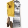 Yellow cardigan | striped jersey tshirt dress | laser cut booties | www.shoppingmycloset.com Perfect fall or casual outfit