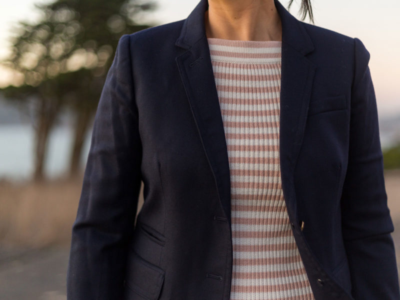 Navy blazer | pink striped sweater | white jeans | nude bow heels | www.shoppingmycloset.com #businesscasual #casual #preppy