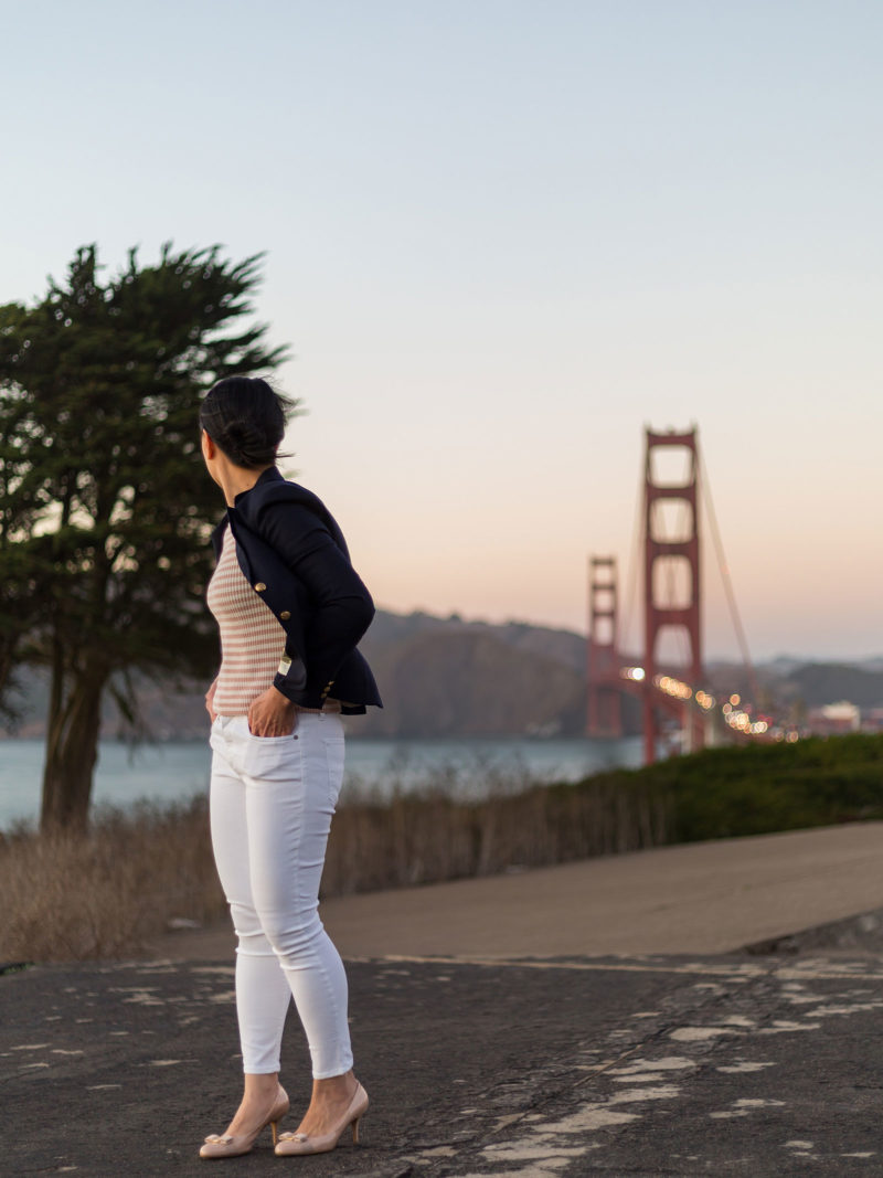 Navy blazer   pink striped sweater   white jeans   nude bow heels   www.shoppingmycloset.com #businesscasual #casual #preppy