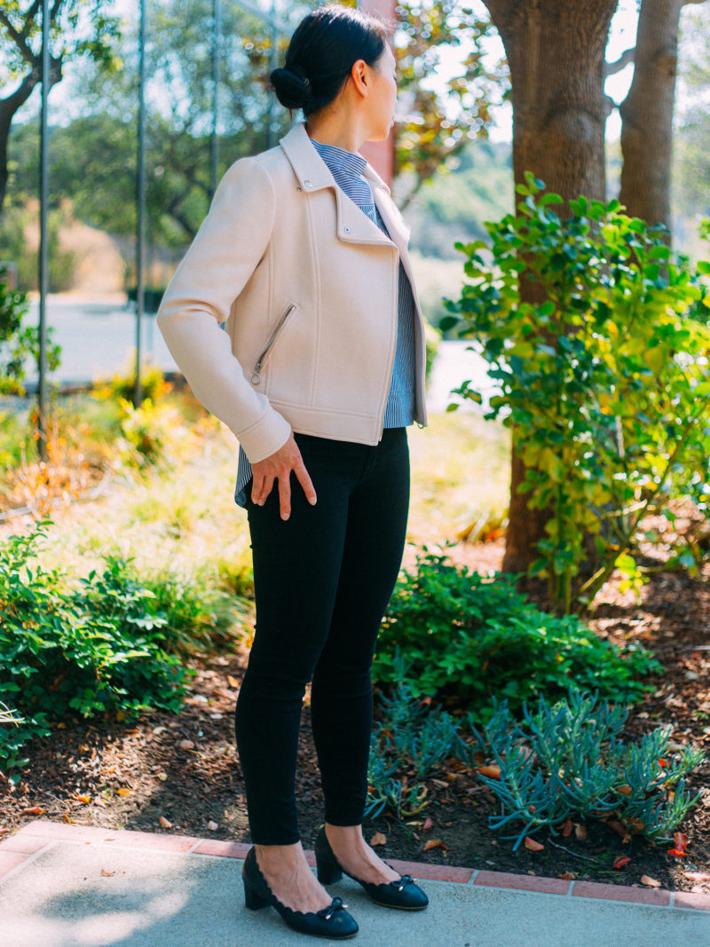Pink moto jacket | striped funnelneck shirt | black skinny jeans | black scallop heels | see the full look at www.shoppingmycloset.com #falloutfit