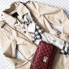Trench coat | Burberry plaid scarf | red quilted purse | see the full look at www.shoppingmycloset.com #flatlay #outfitidea