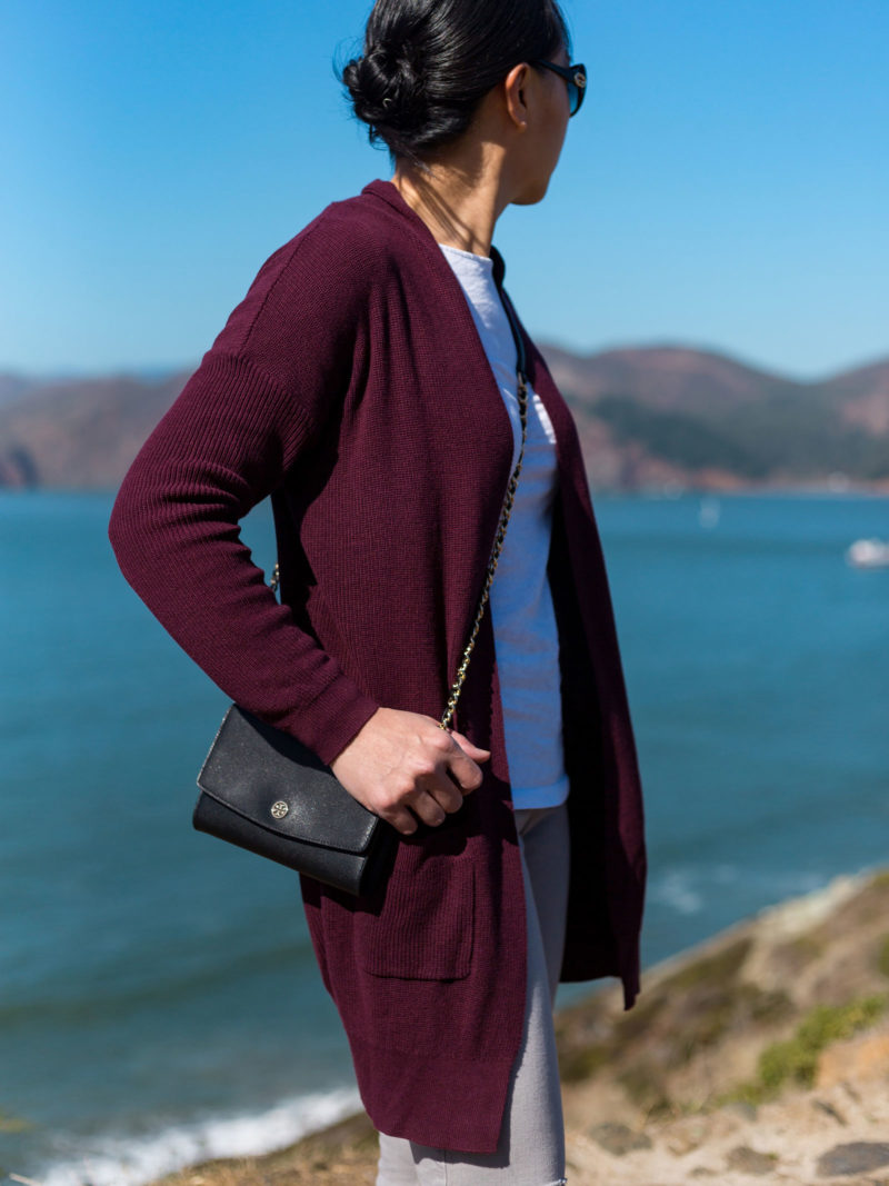 Burgundy longline cardigan | white long sleeve t-shirt | grey distressed jeans | grey d'orsay flats | black wallet on chain | see the full look at www.shoppingmycloset.com #casualoutfit