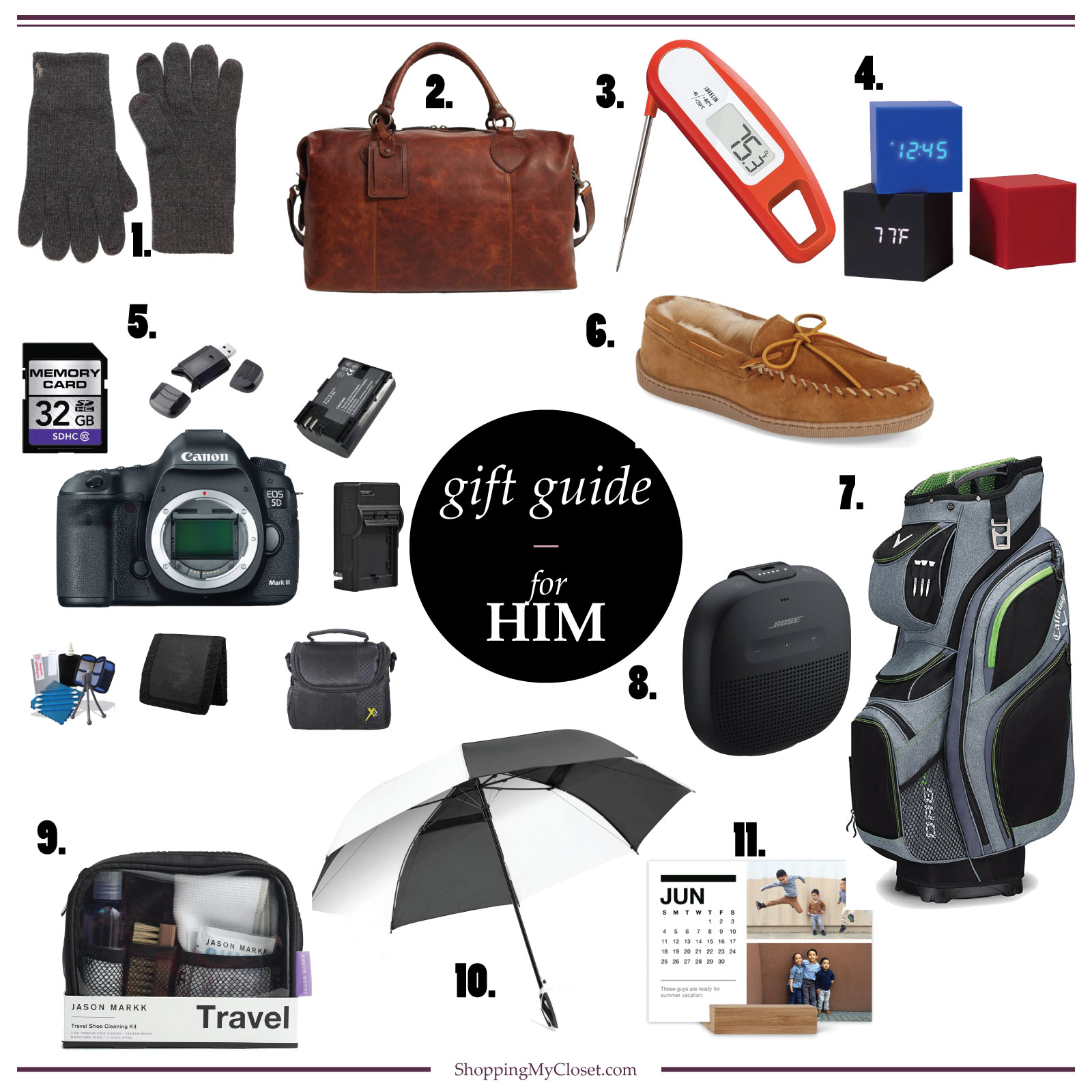 For him {gift guide} | see all the ideas at www.shoppingmycloset.com  #holidaygiftguide #giftguide #gifts #holidaygifts