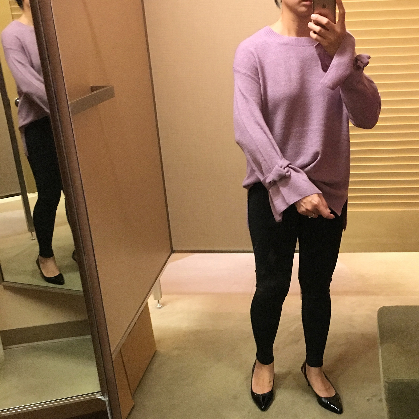 Lavender bell tie sleeve sweater    see the details on www.shoppingmycloset.com