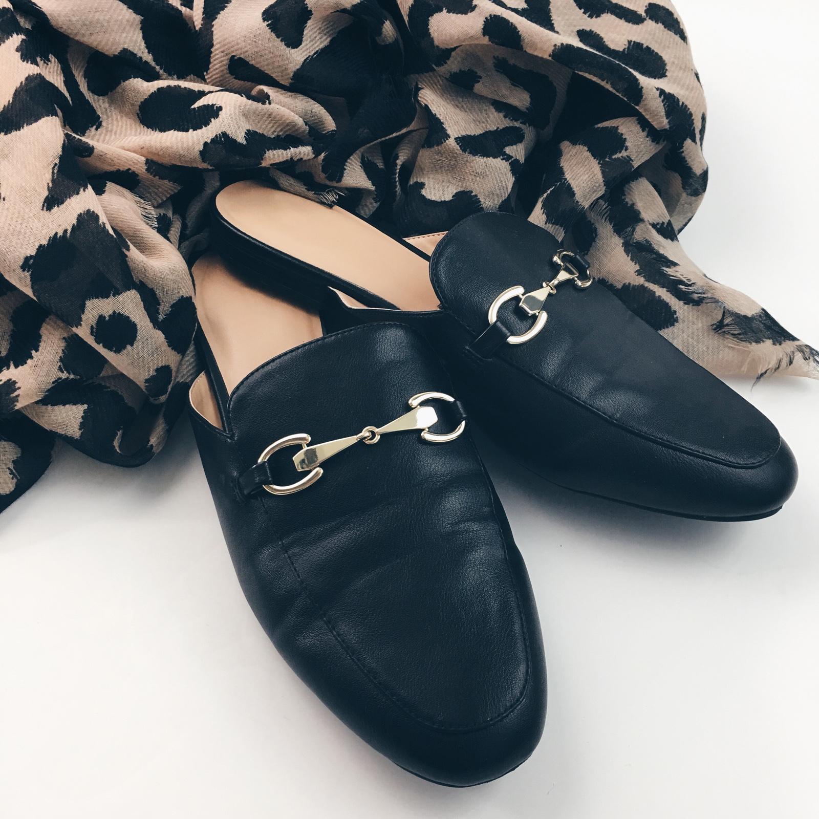 Leopard scarf | black loafer mules | www.shoppingmycloset.com