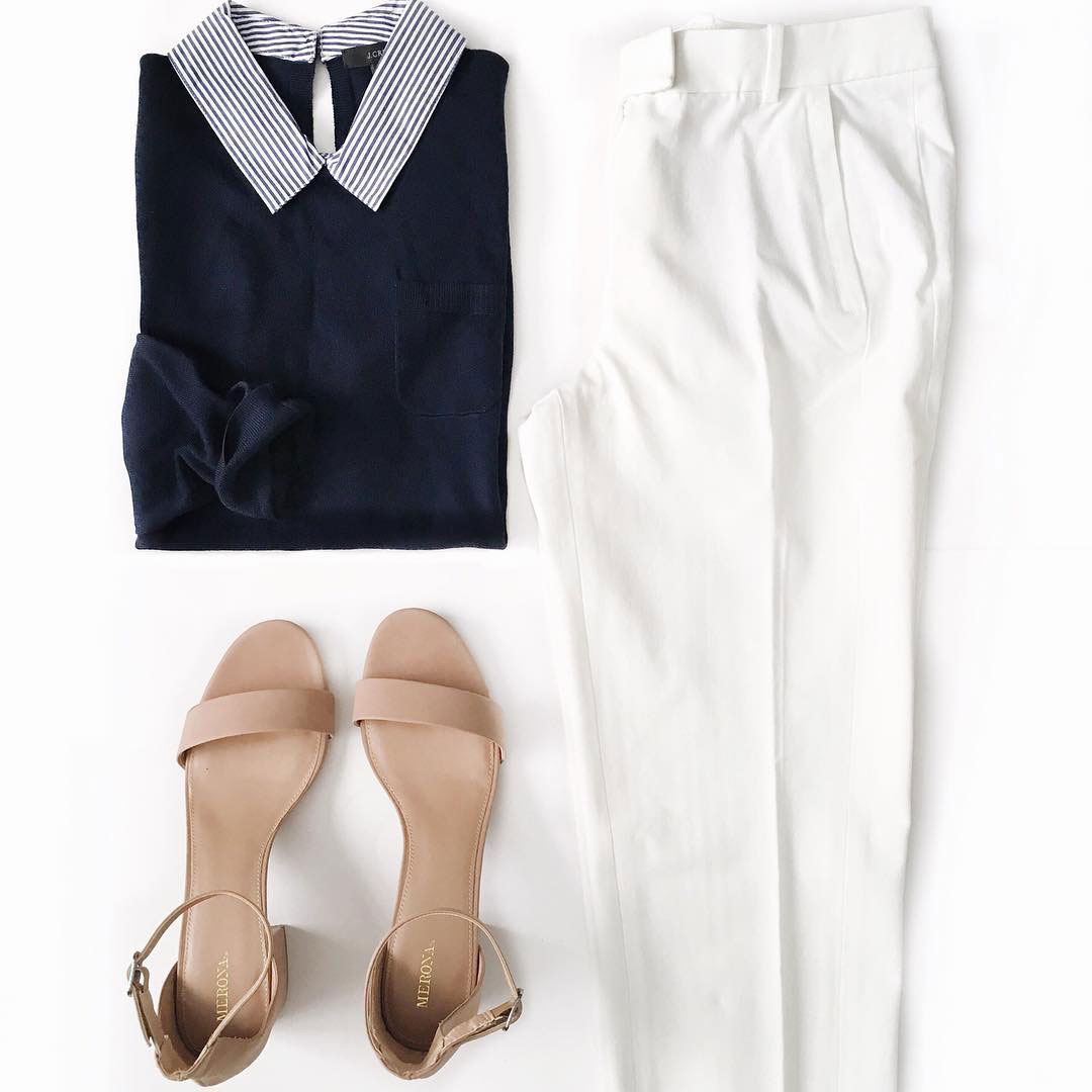 Collared sweater | white pants | nude sandals |  www.shoppingmycloset.com