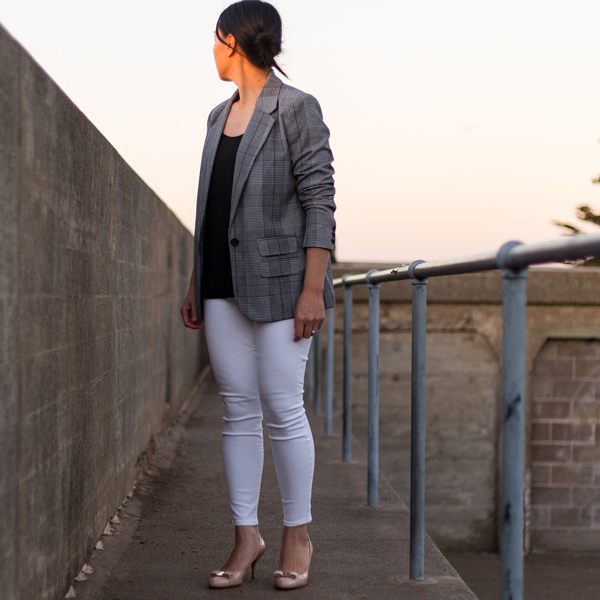 Plaid blazer | black camisole | white jeans | nude bow heels | www.shoppingmycloset.com #businesscasual #casual #datenight