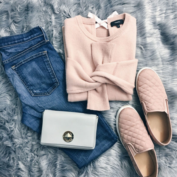 Pink back tie detail sweater | pink quilted slip-on sneakers | crop ankle jeans | grey crossbody purse | www.shoppingmycloset.com #casualoutfit #weekendlook