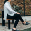 Grey sleeveless mockneck sweater | white long sleeve tshirt | black skinny jeans | black loafers | www.shoppingmycloset.com
