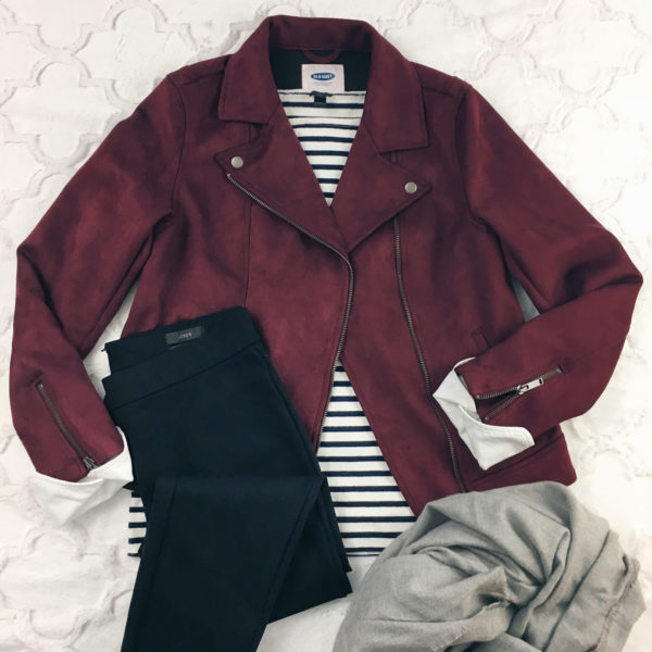 Burgundy moto jacket | striped t-shirt | black leggings | grey scarf | see all the looks on www.shoppingmycloset.com