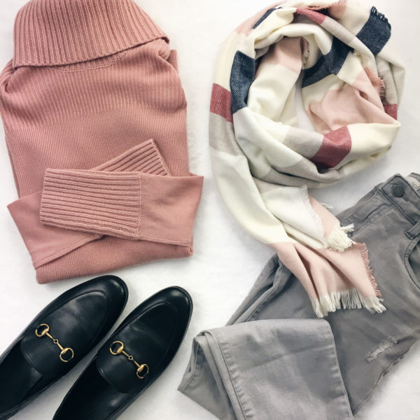 Pink turtleneck | colorblock scarf | black loafers | grey distressed jeans | see all the looks on www.shoppingmycloset.com