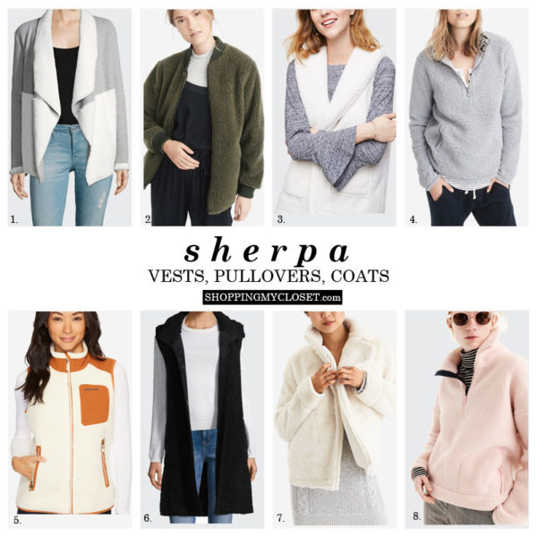 Sherpa pullovers, vests, and coats to keep warm - all picks under $75 | see all the details on www.shoppingmycloset.com