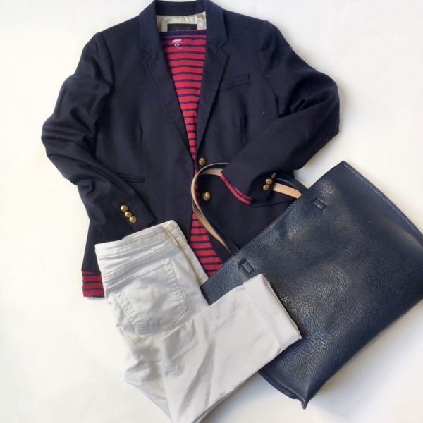 Navy blazer | red striped tee | white jeans | navy blue reversible tote | www.shoppingmycloset.com