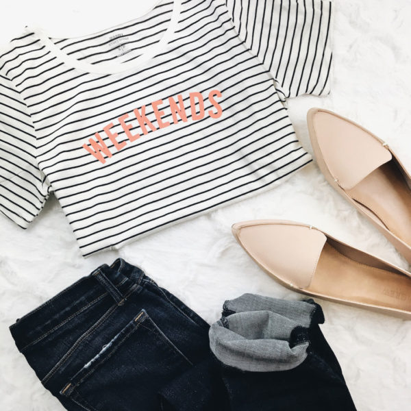 Weekend striped tshirt | skinny jeans | nude pointed toe loafers | www.shoppingmycloset.com