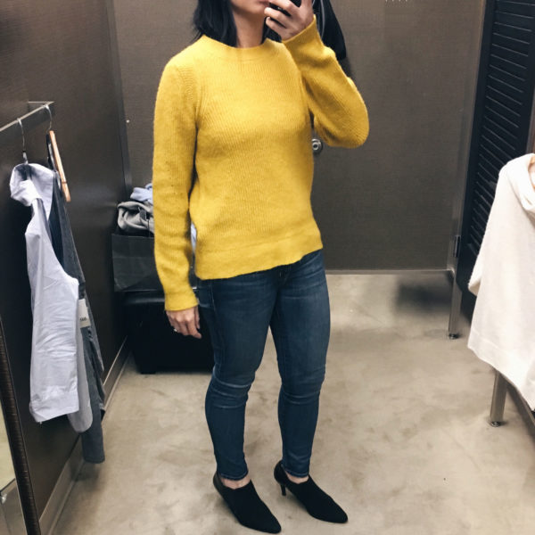Yellow sweater | Snapshots: dressing room outfits | see all the looks at www.shoppingmycloset.com
