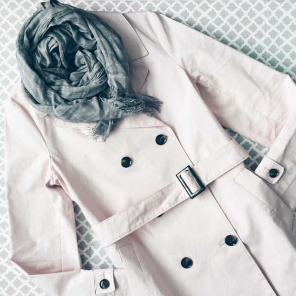Pink trench coat | grey checkered scarf | www.shoppingmycloset.com #spring #springfashion #springoutfit