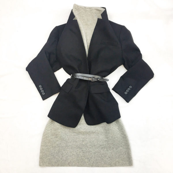 Black blazer | grey sweater dress | black belt | www.shoppingmycloset.com