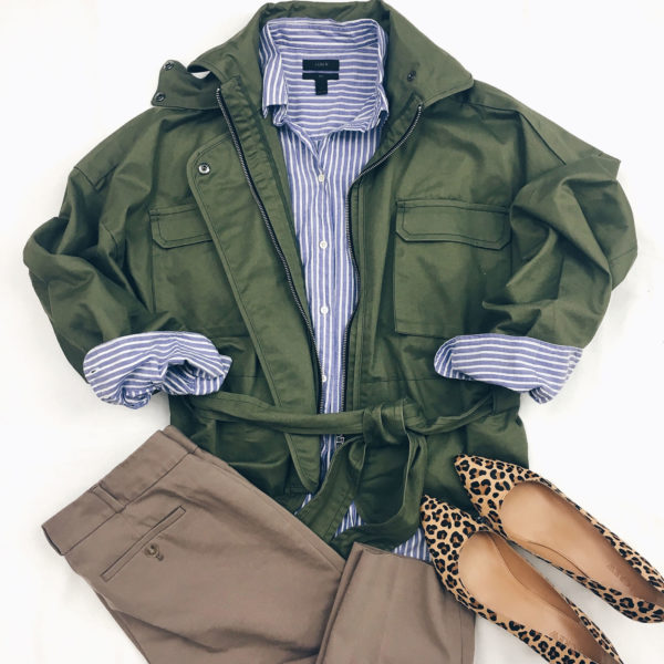 Olive green cargo jacket | blue striped button front shirt | camel pants | leopard heels | www.shoppingmycloset.com