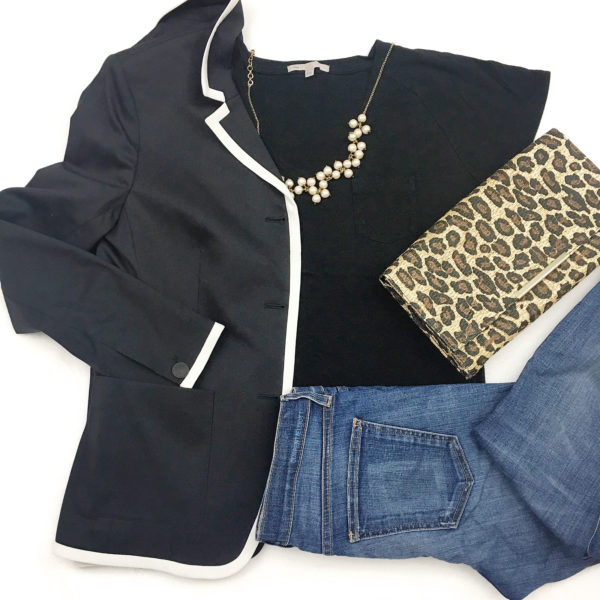 Piped blazer | black tee | pearl necklace | skinny jeans | leopard clutch |  www.shoppingmycloset.com