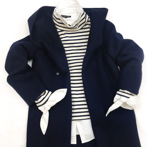Navy hooded coat | striped mockneck shirt | white button front with tie sleeve |  www.shoppingmycloset.com
