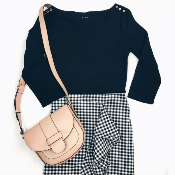 Black tshirt with gold buttons | black gingham ruffle front skirt | pink crossbody | www.shoppingmycloset.com