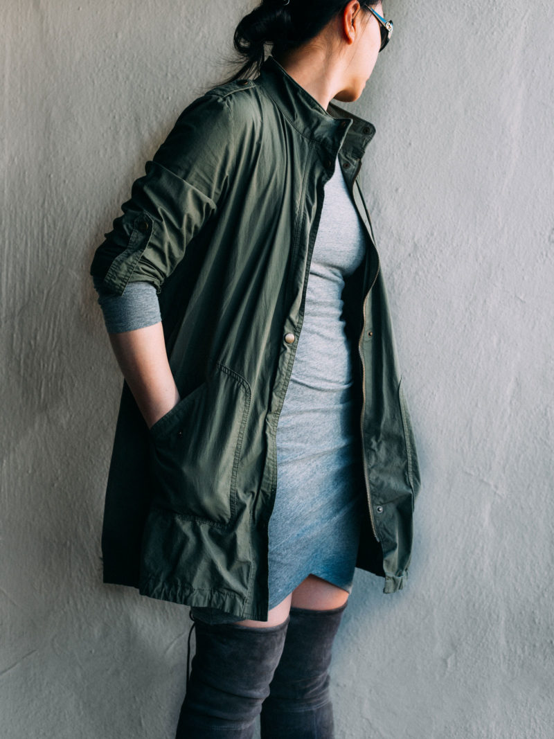 Green utility jacket | grey ruched dress | grey over-the-knee boots |